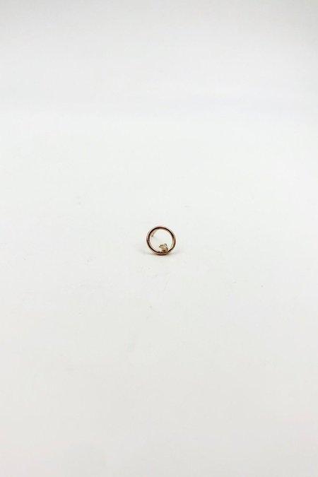 GJenmi White Diamond Full Moon Stud - Gold