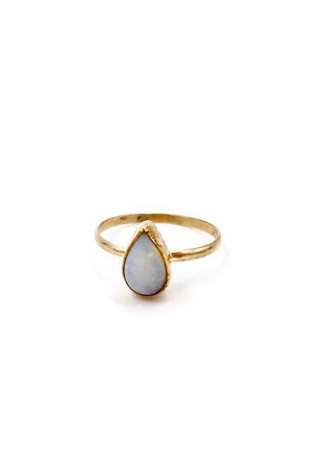 Broken Arrow White Opal Sun City Ring - 14k Gold