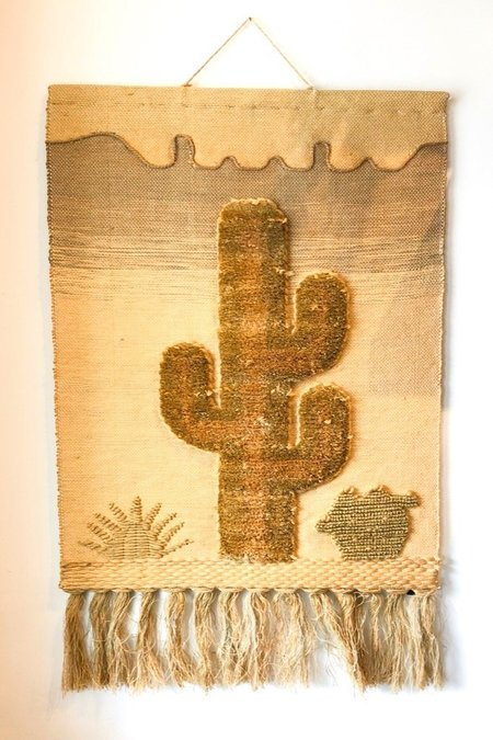 Prism Boutique Vintage Woven Cactus Wall Hanging