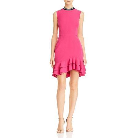 REBECCA VALLANCE Delilah Frill Mini Dress - Magenta