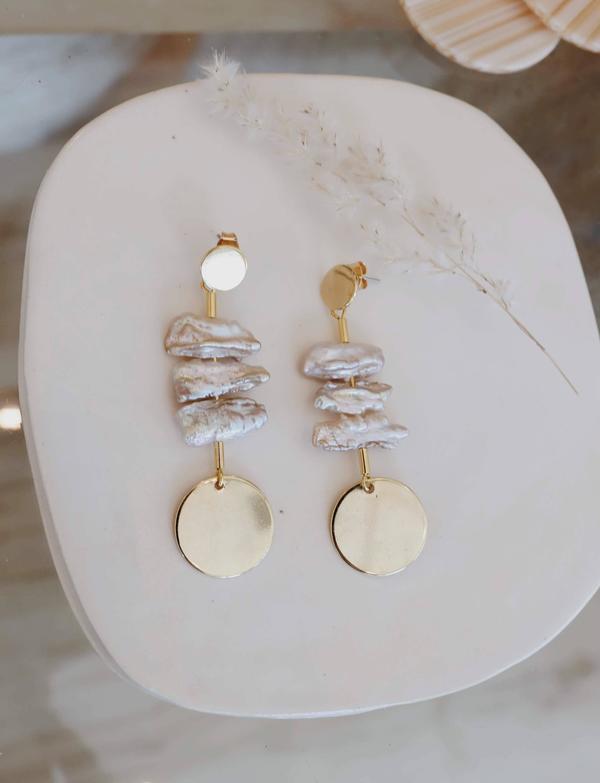 Mod + Jo Peyton Pearl Statement Earrings - Gold