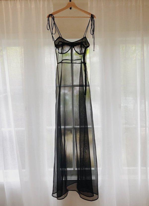 Kamperett RAE SILK ORGANZA DRESS - BLACK