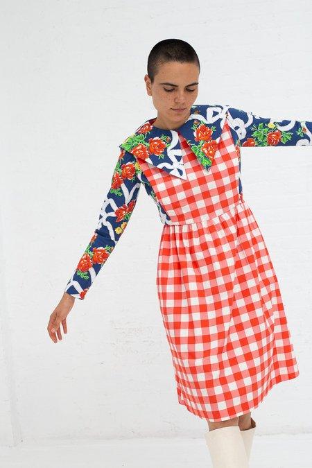 BATSHEVA Renaissance Dress - Gingham/Blue Rose