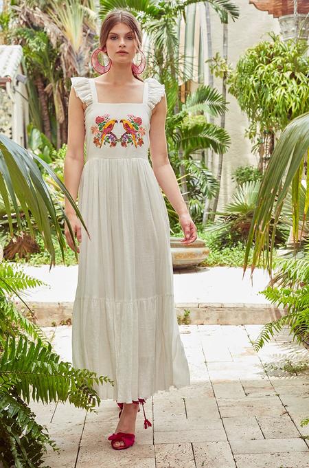 Carolina K Kuna Dress - Parrot Embroidery/White