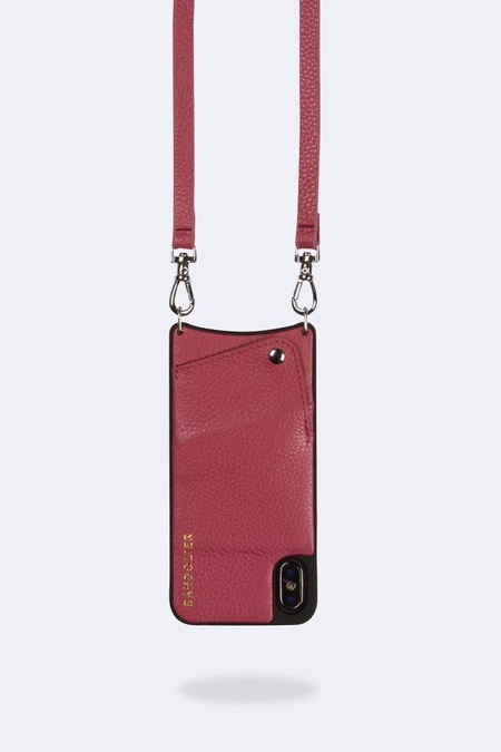 Bandolier Emma XMX Pebble Leather Pouch - Muted Red/Silver