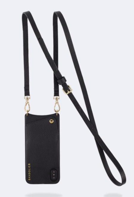 Bandolier Emma Leather Pouch - Black/Gold