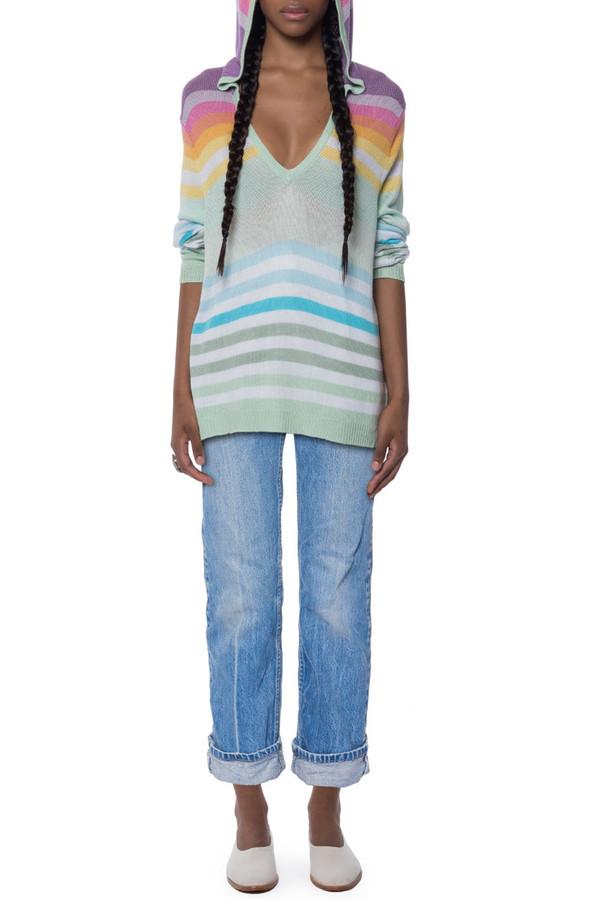 Mara Hoffman Rainbow Knit Pullover Hoodie | Garmentory