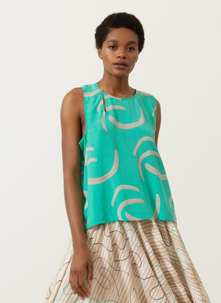 Seek Collective Pan Tank - mint waves print