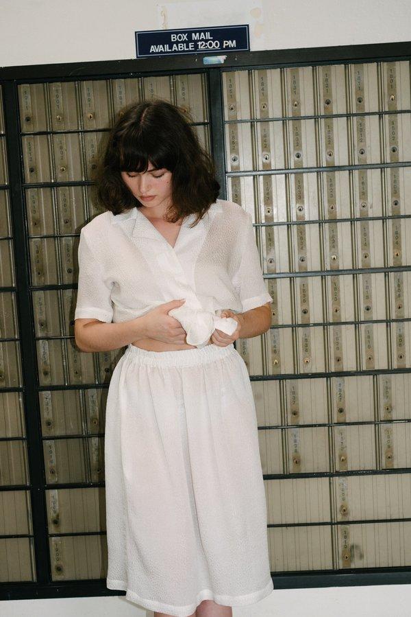 Beklina Fuggiamo Textured Silk Skirt - White