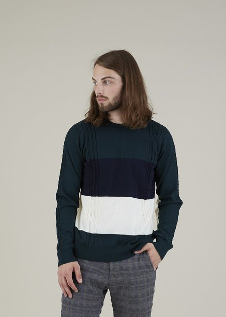 Commune de Paris Minimes Knit Sweater - Green/Stripe