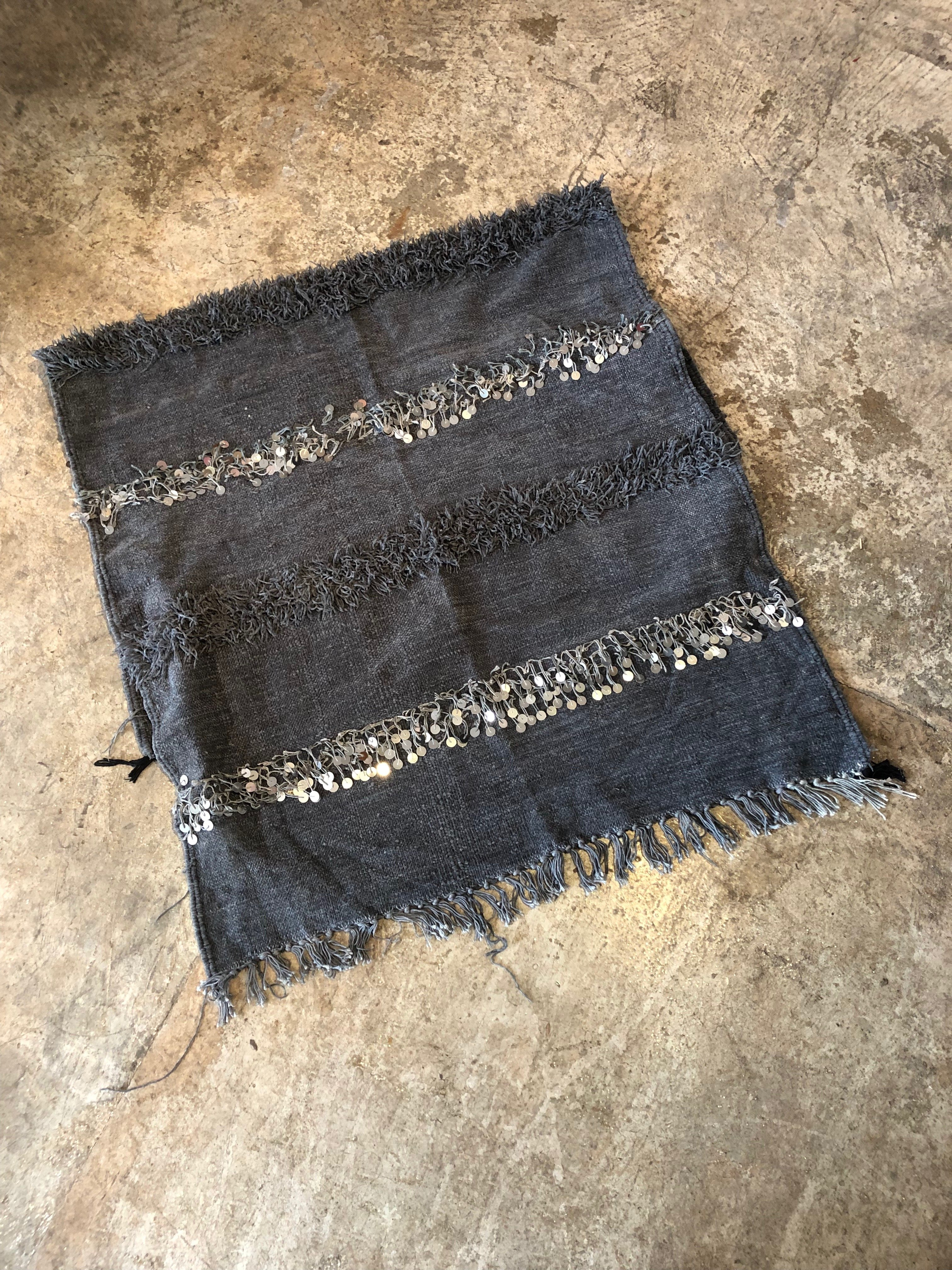 Moroccan Wedding Blanket.Vintage Small Moroccan Wedding Blanket Blue