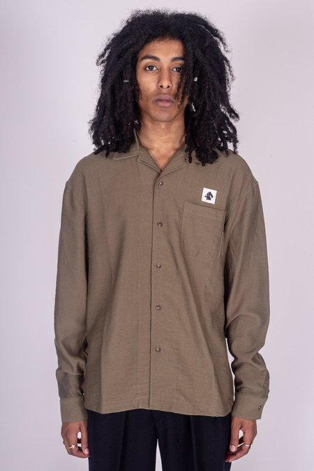 FOUR HORSEMEN Icon Long Sleeve Camp Shirt - Olive