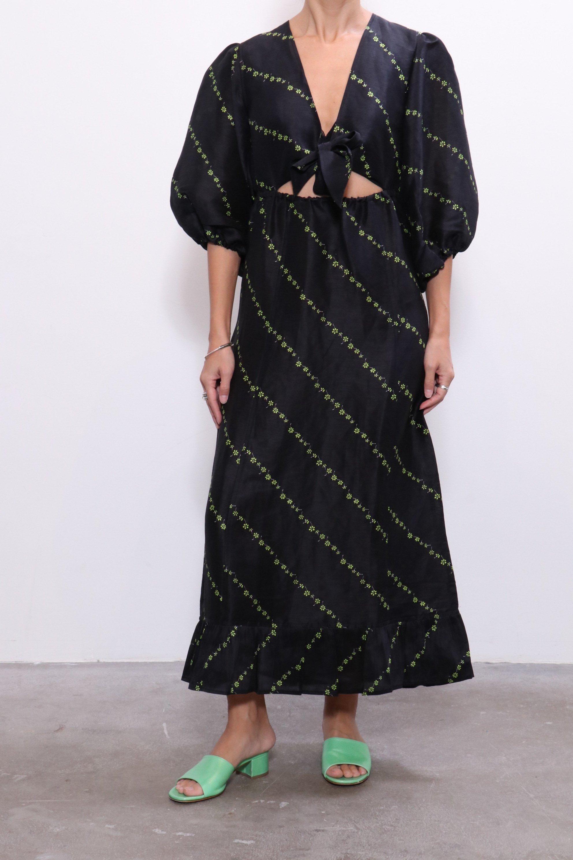 authentic quality special sales excellent quality Ganni Silk Linen Dress - Black