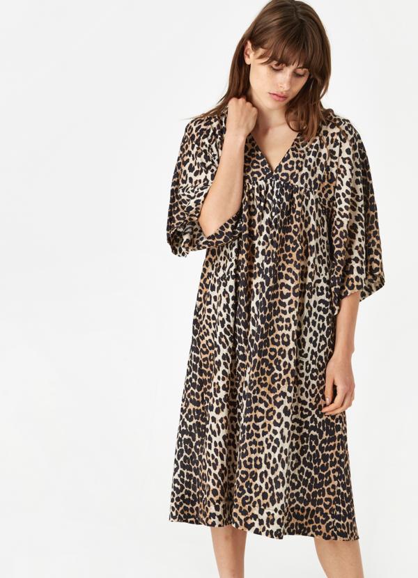 popular style united kingdom new products Ganni Cotton Silk Dress - Leopard on Garmentory