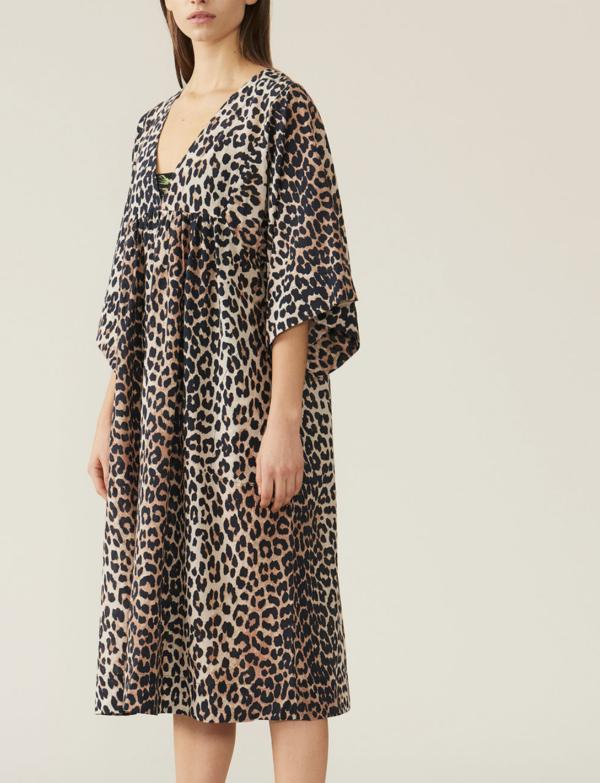 Ganni Cotton Silk Dress - Leopard