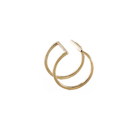 Knobbly Studio Open Square Ring in Gold