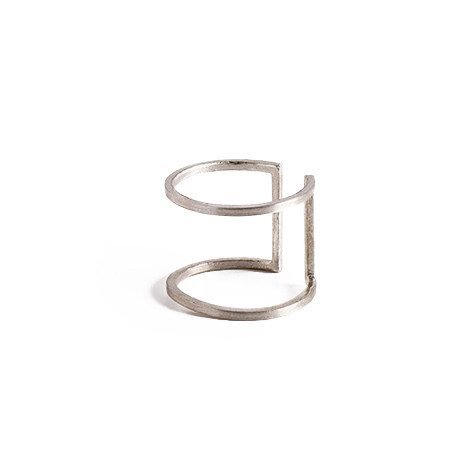 Knobbly Studio Open Square Ring in Silver