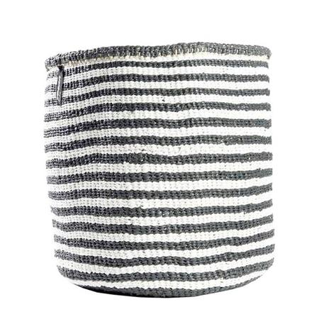 Mifuko Kiondo Thin Stripes Medium Basket - Grey/White
