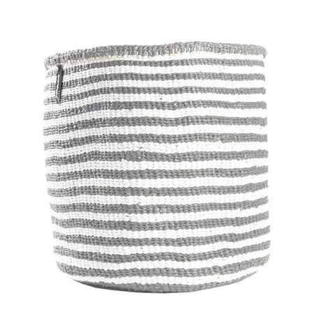 Mifuko Kiondo Thin Stripes Medium Basket - Light Grey/White