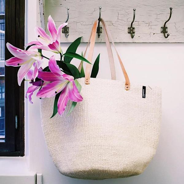 Mifuko Kiondo Sisal Large Basket With Long Leather Straps - Natural Brown
