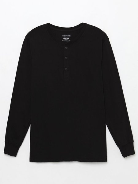 Richer Poorer Henley Long Sleeve - Black