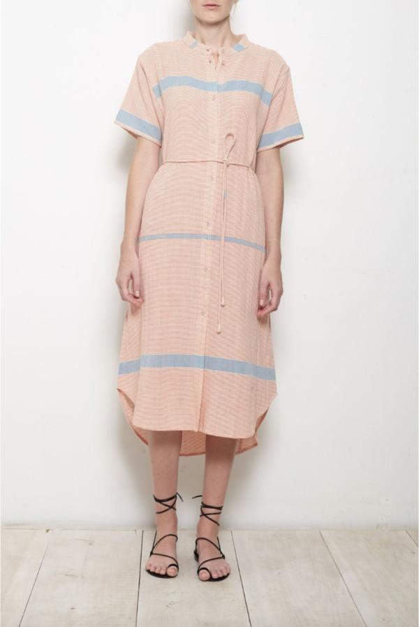 Apiece Apart Martine Shirt Dress - Cote Stripe Red