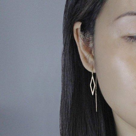 J. Luu Diamond Geometric Threader Earrings - 14k Rose Gold