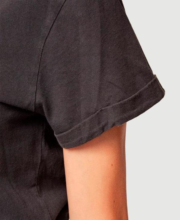 Frame Denim Cuffed V-Neck Tee - Washed Noir