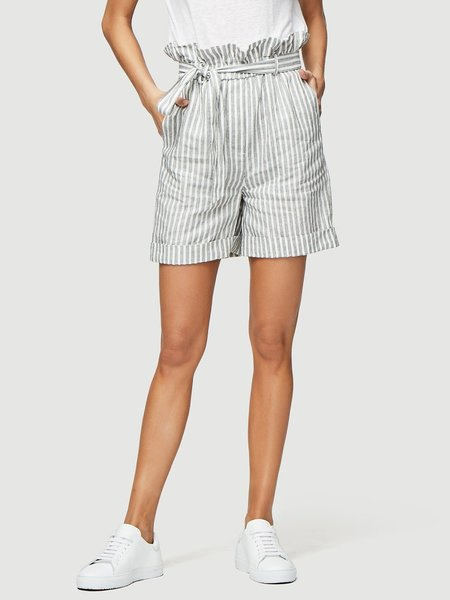 Frame Denim Striped Paperbag Shorts - Off White Multi