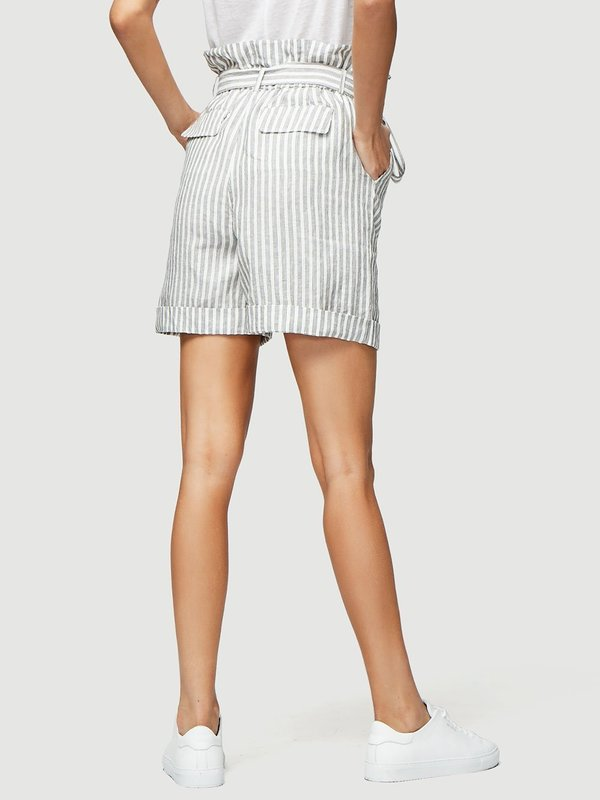 Frame Denim Striped Paperbag Shorts - Off White Multi