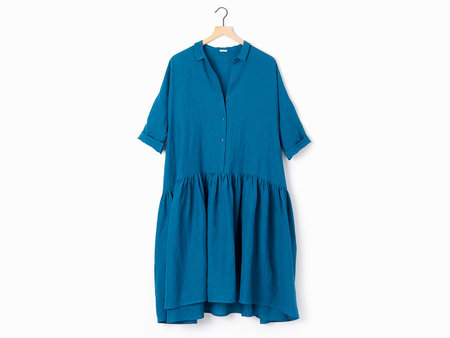 A Punto B Apuntob Linen Shirtdress - Turquoise