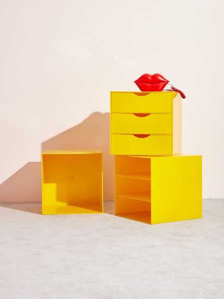 Coming Soon Vintage 3-Unit Plastic Storage - yellow