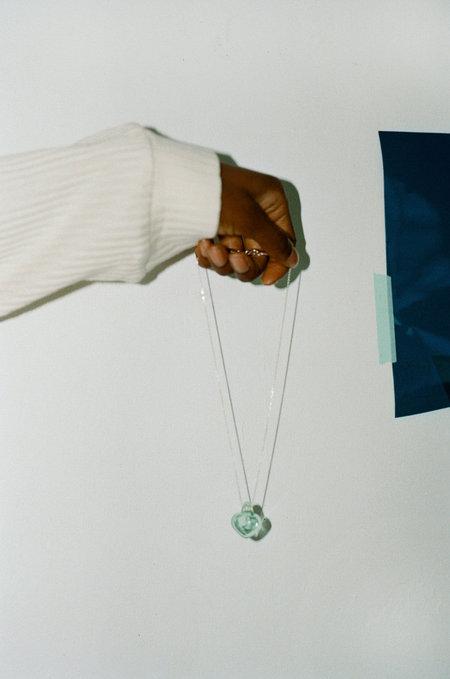 ALEXA DE LA CRUZ Tiny Light Emerald Glass Heart Pendant