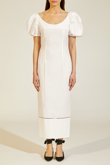 KHAITE Allison Fitted Dress w/ Puff Sleeve - White