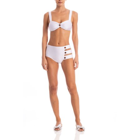 Adriana Degreas Cut Out Hot Pants Bikini With Tortoise Detail - WHITE