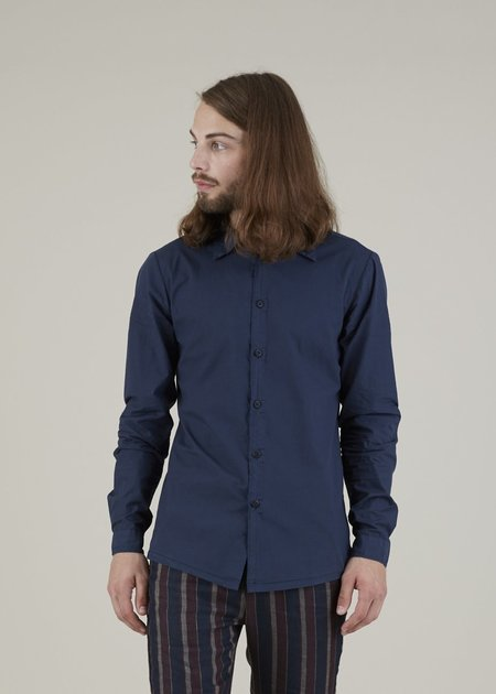 Hannes Roether Fringe Button Up Shirt - Navy
