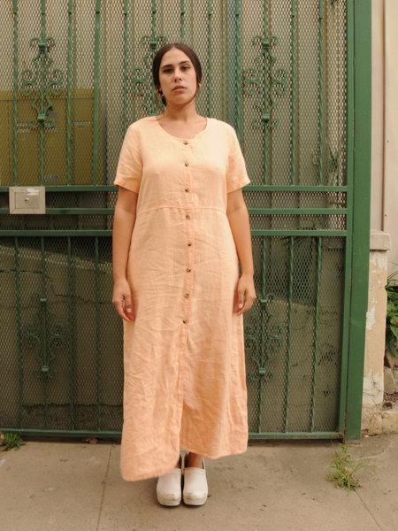 Weird Sisters Vintage Button Down Cotton Dress - APRICOT