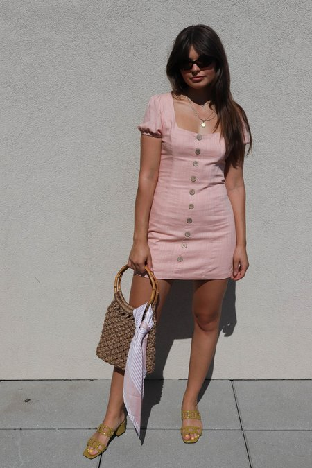 Cotton Candy LA Linen Blend Mini Dress - Blush