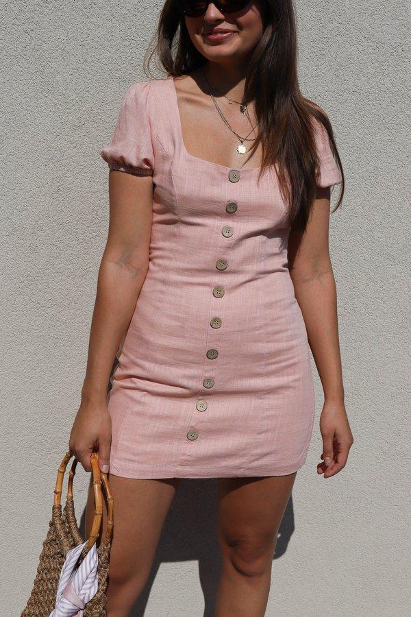 Cotton Candy LA Linen Blend Mini Dress - Blush
