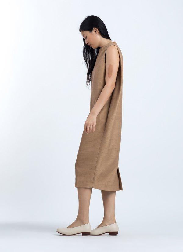 KAAREM Dill High Collar Silk Dress - Brown Kelp