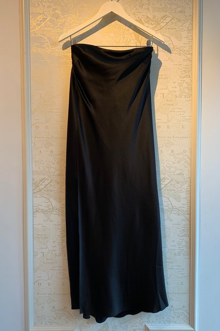 Michelle Mason Silk Charmeuse Strapless Caftan - BLACK