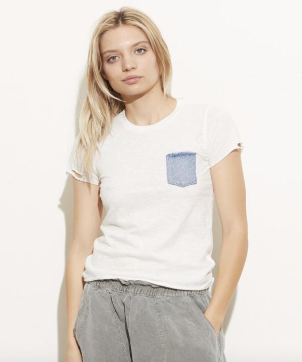 NSF June tee - White/Denim pocket