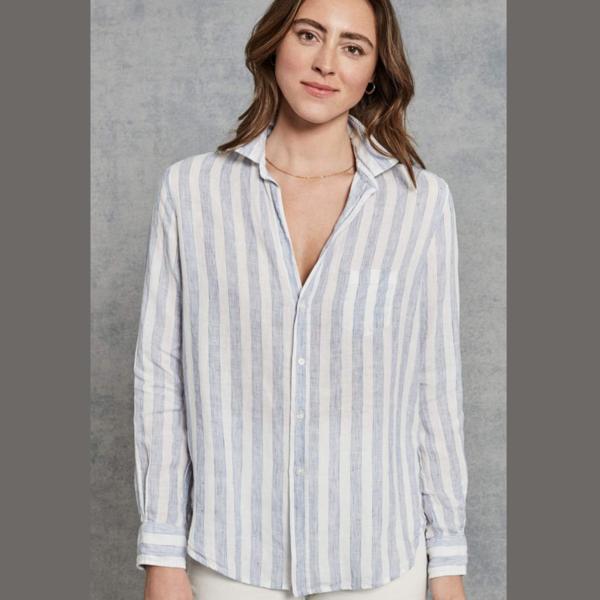 Frank & Eileen Elieen Italian Linen Wide Washed Shirt - Blue Stripe