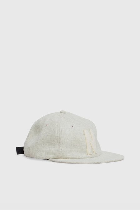 Norse Projects 6 Panel 'N' Wool Flat Cap - Kit White