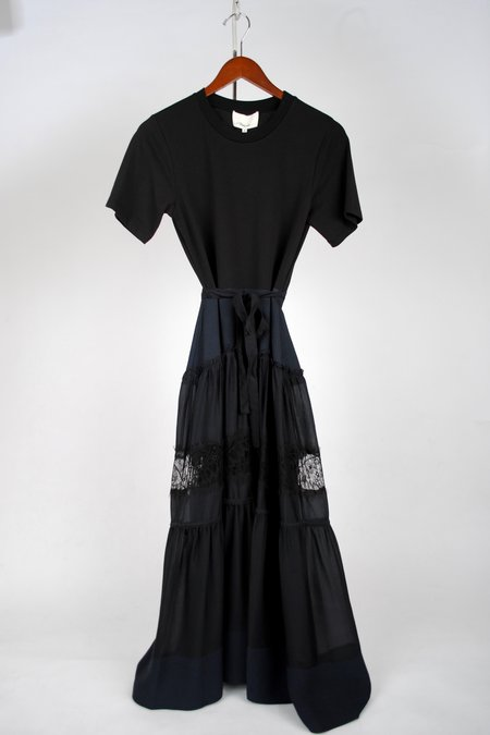 3.1 Phillip Lim T-shirt Dress With Lace Skirt - Midnight