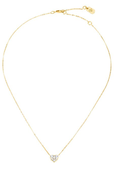 Carbon & Hyde Heart Choker Chain Necklace - Yellow Gold