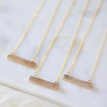 Mesa Blue Druzy Bar Necklace - gold