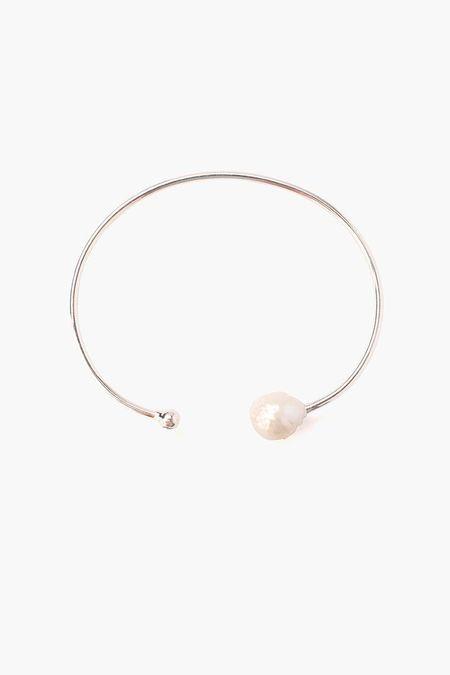 Chan Luu pearl with micro diamond cuff bracelet - Silver