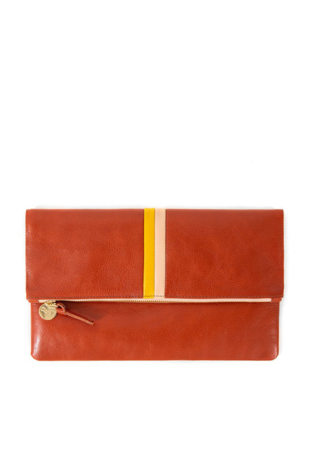 Clare V. Foldover Clutch - Sienna Rustic/Yellow/Blush