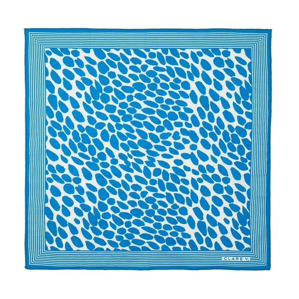 Clare V. Jag Splash Bandana - Cream w/Blue Jag